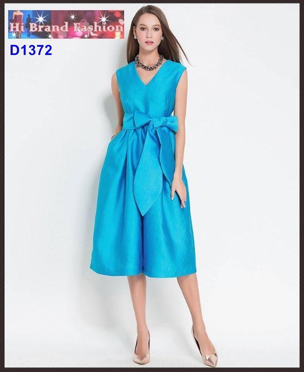 จัมพ์สูทกางเกงขากว้างสีฟ้าเข้ม พร้อมผ้าผูกเอว มีกระเป๋าล้วง size S