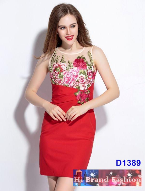 เดรสผ้าบุหงาสีครีมปักดอกไม้ ตัดต่อผ้าจอร์เจียสีแดงสดสวย size M
