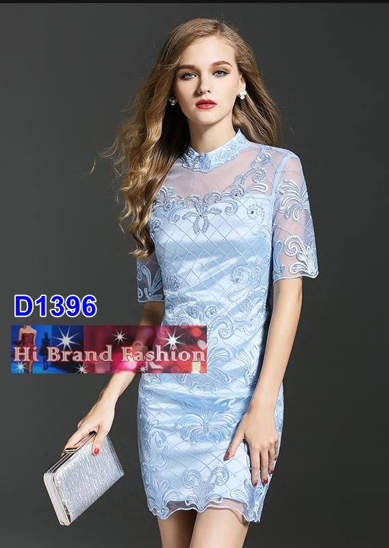 เดรสผ้าบุหงาปักลายหรูสีฟ้าอ่อนหวาน ประดับเพชรและเลื่อม S M XL XXL