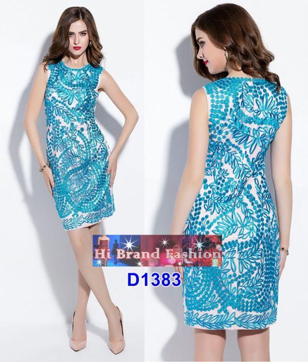 เดรสผ้าบุหงาสีครีมชมพูปักลายสีฟ้าสดทั้งตัว พร้อมซับในเนื้อเงาประกาย US4 6