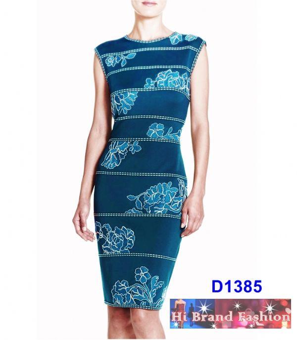 เดรสสีน้ำเงินอมเขียวปักลายดอกไม้ขาว ผ้าเนื้อดีใส่แล้วเพรียว แถมสีสวยเด่นสง่างาม US4 6