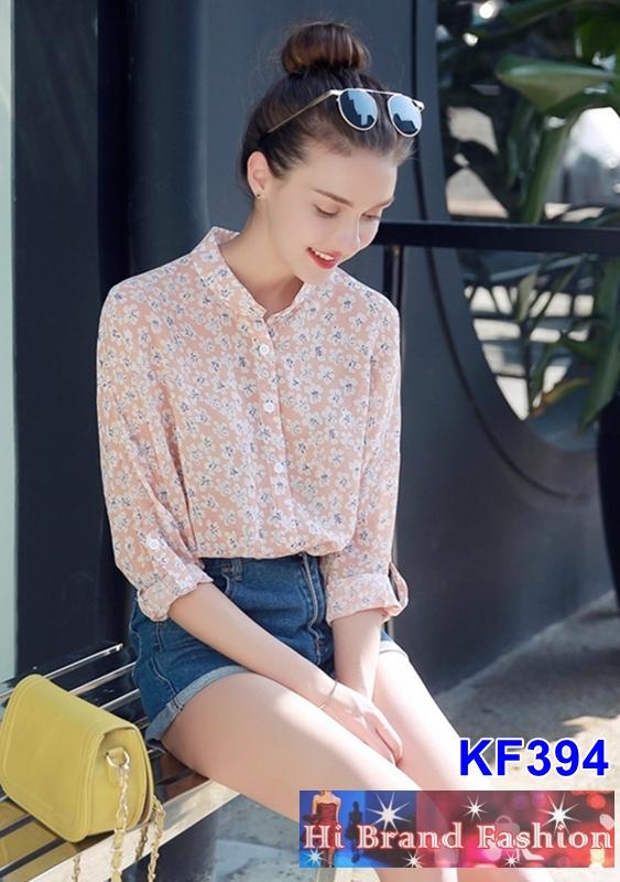 เสื้อเชิ้ตแขนยาว ผ้าชีฟองสีโอลด์โรสพิมพ์ลายดอกไม้ M L XL