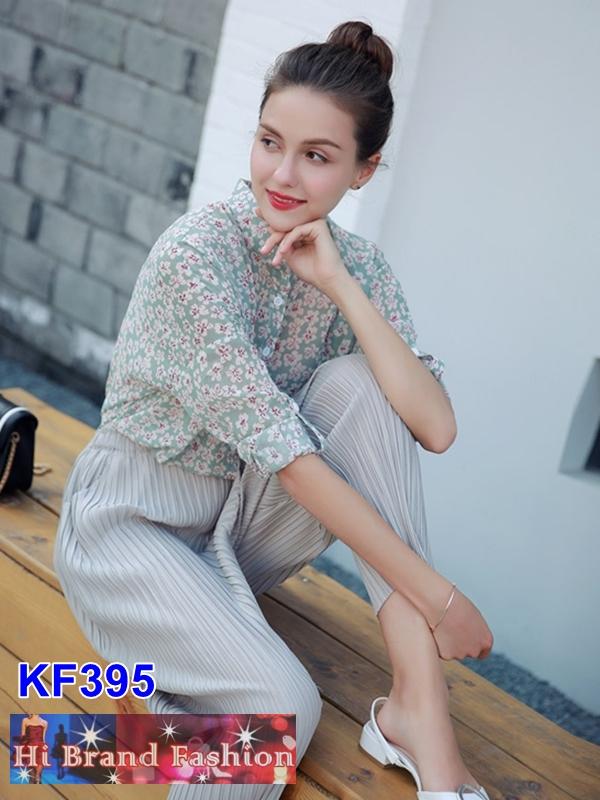 เสื้อเชิ้ตแขนยาว ผ้าชีฟองสีเขียวอ่อนพิมพ์ลายดอกไม้ S M L XL