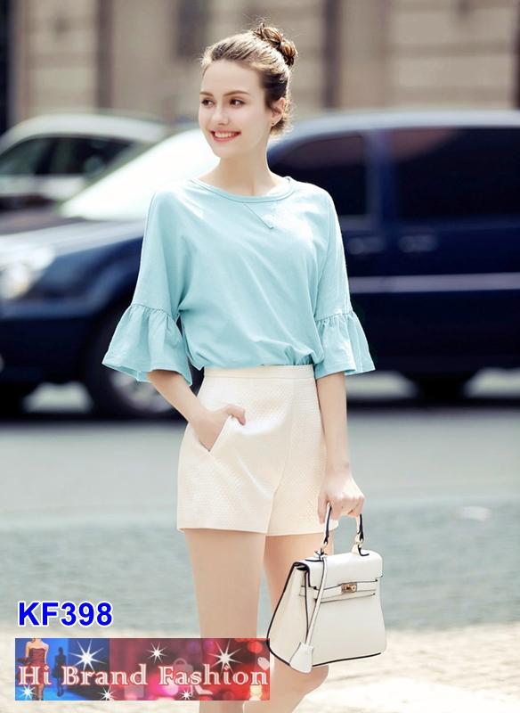 เสื้อยืดตัวหลวมแขนสั้นสีฟ้าใสพร้อมกางเกงขาสั้นสีงาช้าง XXL  XXXL (บิ๊กไซส์)