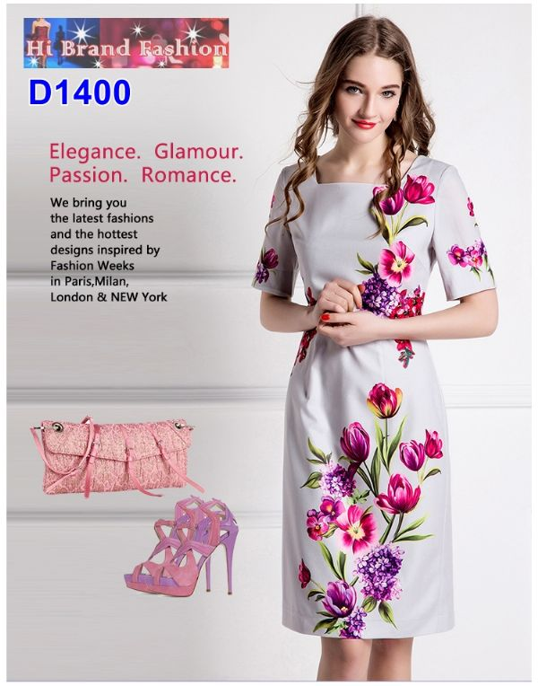 เดรสแขนสั้นสีเทาพิมพ์ลายดอกไม้หวานๆ ประดับดอกไม้ผ้าเล็กๆ และคริสตัล EU36 EU42