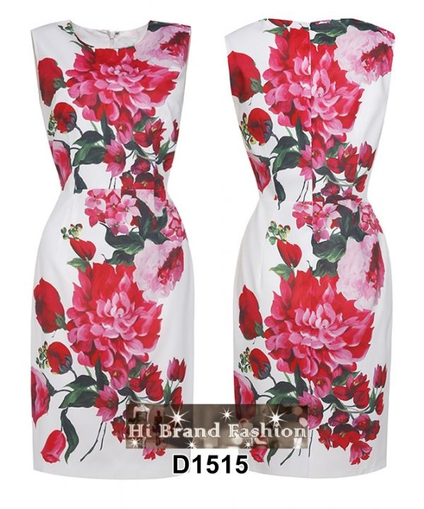 เดรสสีขาวพิมพ์ลายดอกไม้ใหญ่สีแดงสดสวยโดดเด่น ใหม่  M  XXL