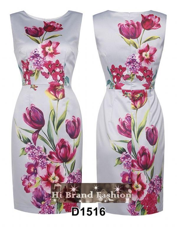เดรสสีเทาเงินพิมพ์ลายดอกไม้ใหญ่หลายสีสดสวยโดดเด่น ใหม่ M L XL XXL