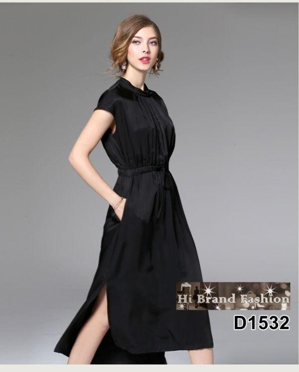 เดรสสีดำยาวปิดเข่า ผ้าแพรไหมเนื้อดีใส่สบาย เอวยางยืด มีกระเป๋าล้วง size L