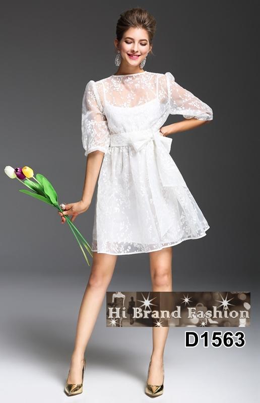 เดรสลูกไม้ผ้าแก้วซีทรูสีขาวปักลายดอกไม้เล็กๆ พร้อมซับในสลิปเดรสสายเดี่ยว ใส่น่ารักๆ  S M L