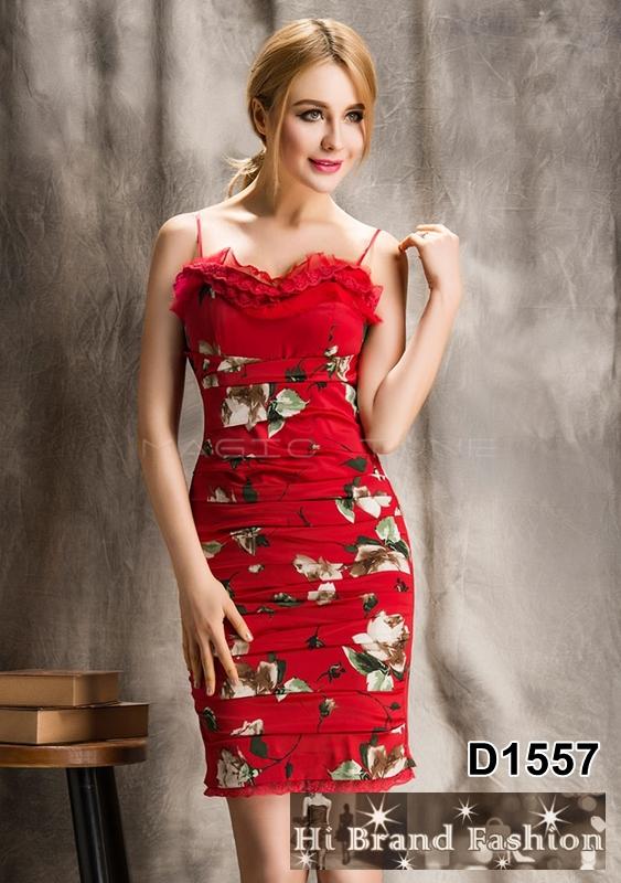เดรสสายเดี่ยว ผ้าซาตินสีแดงพิมพ์ลายดอกไม้ จับเดรปแต่งแถบลูกไม้ สีสดสวย size L