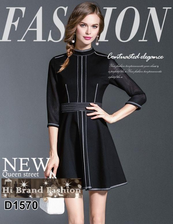 เดรสสั้นกระโปรงบานผ้าสแปนเด็กซ์สีดำ ปักด้นด้ายสีขาว  L XL