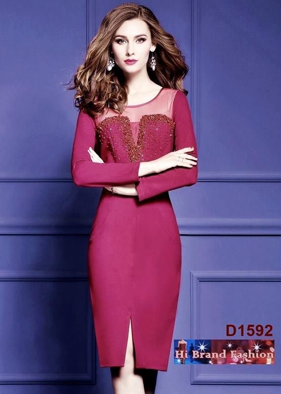 เดรสหรูออกงานแขนยาวสีม่วงแดง ปักลูกปัดจิวเจียร์สวยหรู S M XL และบิ๊กไซส์