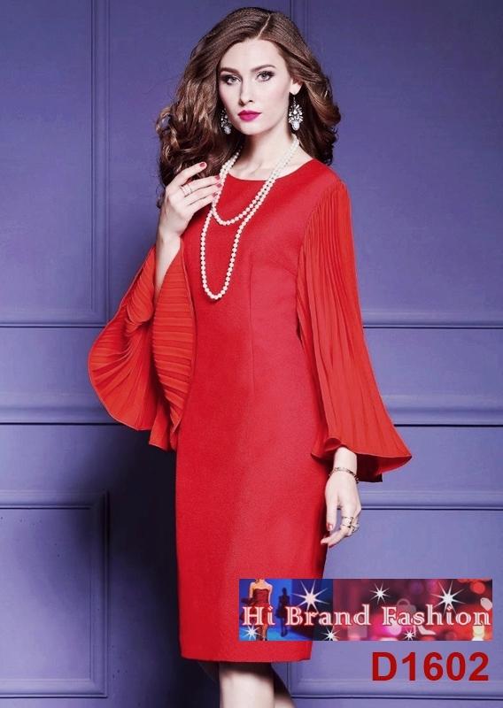 เดรสหรูออกงานสีแดงเข้ม แขนผีเสื้ออัดพลีทระบาย สวยเริ่ดเฉิดฉาย S M L XXL