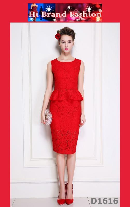 ชุดเซ็ท2 ชิ้น เสื้อเอวระบายกระโปรงผ้าลูกไม้สีแดง S M L XL