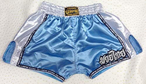 Retro short soft blue with Lumpini ribbon and silk silver on the side and waist.