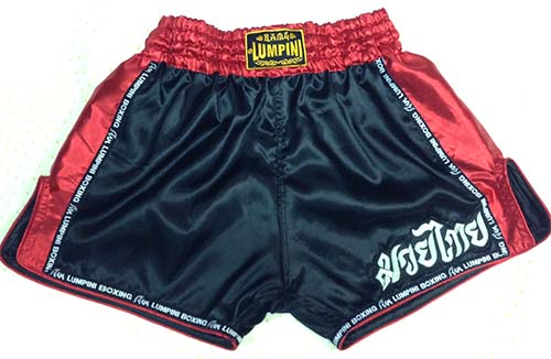 Retro short black with Lumpini ribbon and silk red on the side and waist.