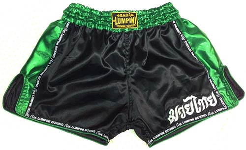 Retro short black with Lumpini ribbon and silk green on the side and waist.