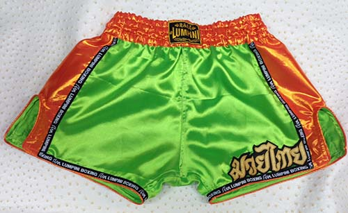 Retro short lime green with Lumpini ribbon and silk orange on the side and waist.