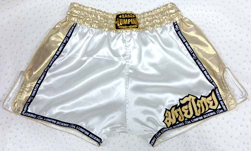 Retro short white with Lumpini ribbon and silk gold on the side and waist.