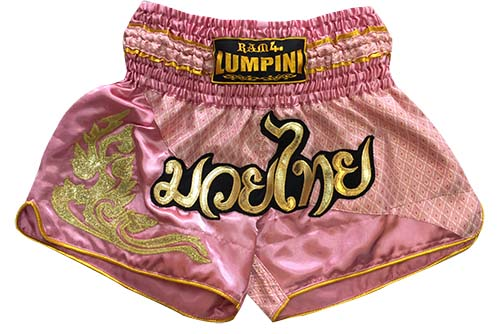 Muay Thai short pink with silk Thai fabric letters Mauy Thai in Thai