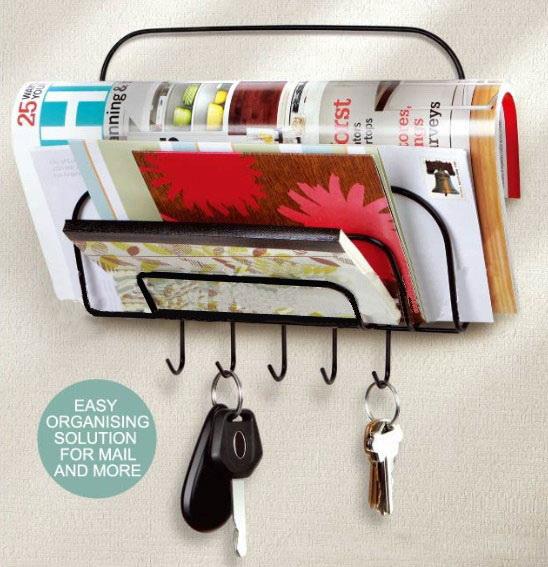 ของใช้ในบ้าน : ที่เก็บสิ่งของไปรษณีย์พร้อมที่แขวนพวงกุญแจ
