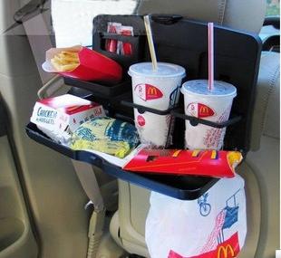 ของใช้ในรถ : ถาดอาหารและเครื่องดื่มติดหลังเบาะ