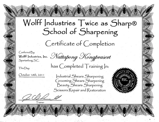 Sharpening Certificate