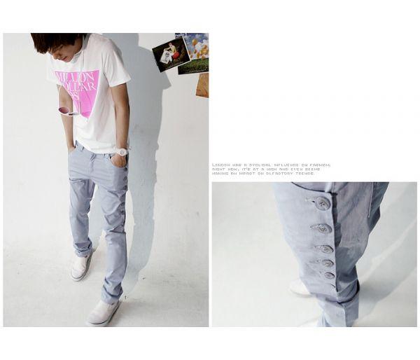 เสื้อผ้าผู้ชาย : กางเกงสไตล์หนุ่มเกาหลีแต่งกระดุมข้าง