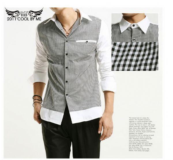 เสื้อผ้าผู้ชาย : เสื้อเชิร์ตลาย grid ขาวดำ so chic!