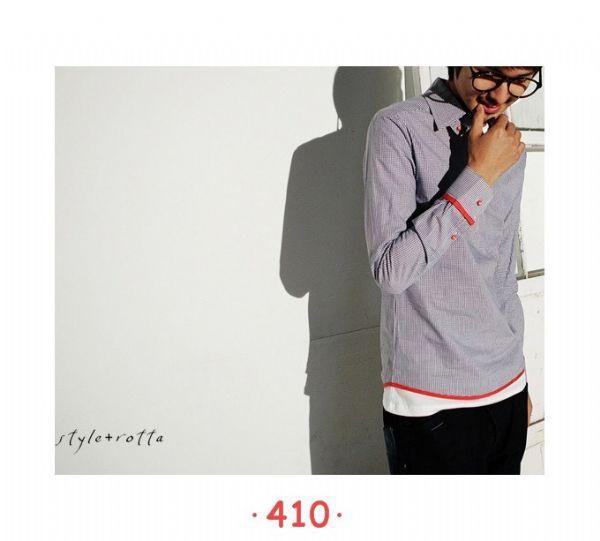 เสื้อผ้าผู้ชาย : เสื้อเชิร์ตโมเดิร์นแต่งขลิบแดง