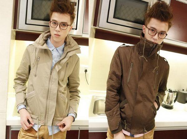 เสื้อผ้าแฟชั่นผู้ชาย เสื้อกันหนาวผู้ชาย : แจ๊คเก็ต stand-up collar