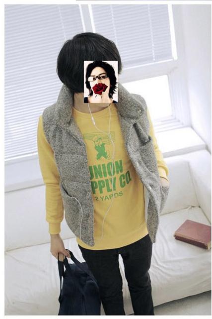 เสื้อกันหนาวผู้ชาย : เสื้อกั๊ก cotton stand up collar