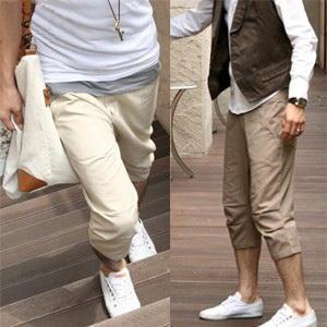เสื้อผ้าผู้ชายพร้อมส่ง : กางเกง casual สามส่วนเข่าจับจีบ