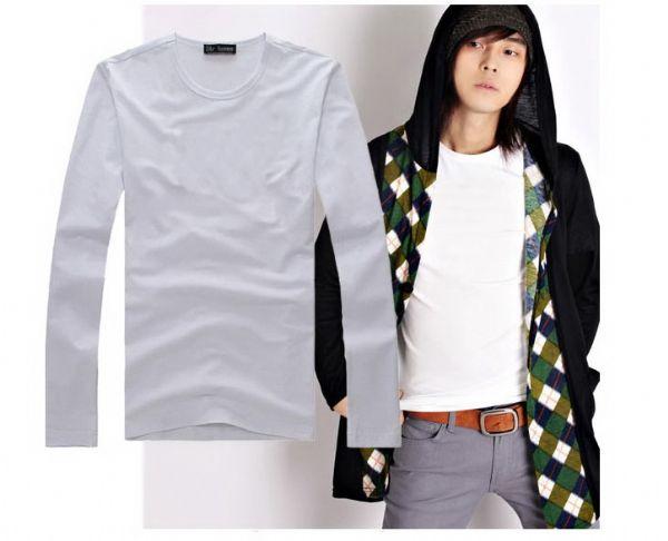 เสื้อผ้าผู้ชายพร้อมส่ง : t-shirt แขนยาวสีขาว