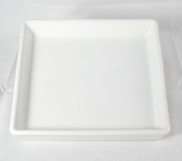จานเซรามิค สีขาว ทรงเหลี่ยม 5   นิ้ว