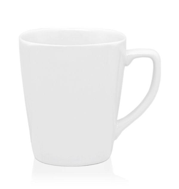 แก้วเซรามิค  ปากเหลี่ยม สีขาวมัน