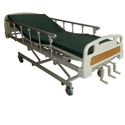 PS 12 เตียง 3 ไกร์มือหมุน+ที่นอน แบบ 4 ตอน(หัวท้ายสีเขียว/สีส้มลายไม้)