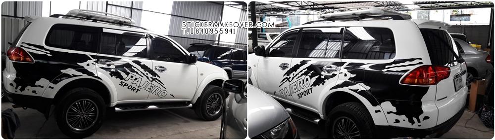 แต่งลายสติกเกอร์ Mitsubishi pajero sport  ปาเจโร่แต่งสวย  ลายรถปาเจโร่ หุ้มสติกเกอร์กระจังหน้าpajero หุ้มสติกเกอร์ดำด้านหลังคาpajero ติดฟิล์มใสกันสะเก็ดหินpajero ลายรถpajeroสวย  pajeroแต่งลายสวย แต่งรถ ลายรถ