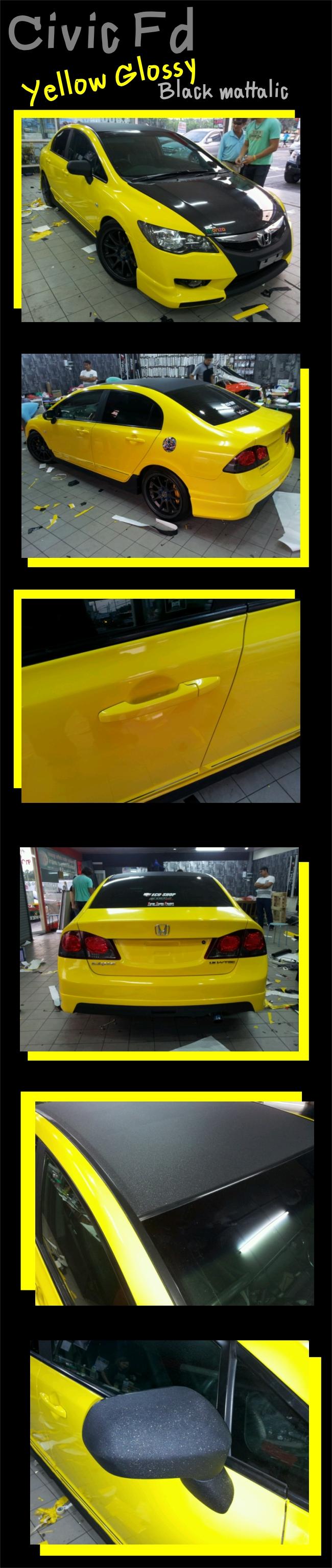 wrap car civic fd ฟิล์มหุ้มเปลี่ยนสีรถ เปลี่ยนสีรถทั้งคันด้วยสติกเกอร์ wrapเปลี่ยนสีรถ เปลี่ยนสีรถดำด้าน