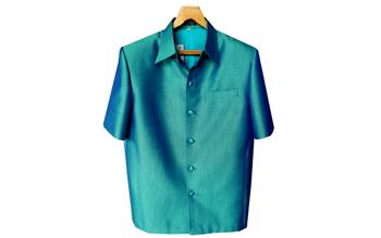 เสื้อผ้าฝ้ายลายลูกแก้วสีเขียวปีกแมงทับ