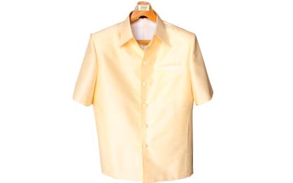 เสื้อสูทชายผ้าไหมเทียมสีครีม