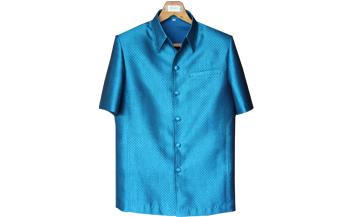 เสื้อผ้าฝ้ายลายลูกแก้วสีฟ้าน้ำทะเลเข้ม