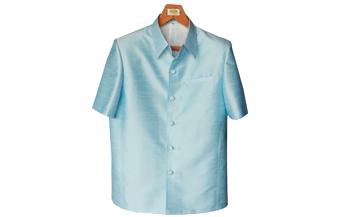 เสื้อสูทชายผ้าไหมเทียมสีฟ้าอ่อน