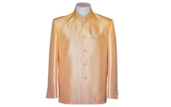 เสื้อผ้าไหมเทียมลายลูกแก้วยกดอกสีทองแขนยาว