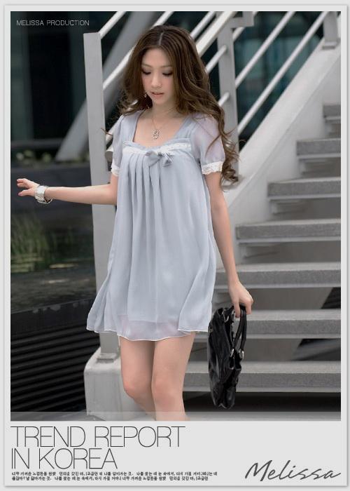 เสื้อผ้าแฟชั่น: ชุดเดรสเรียบหรู สไตล์เกาหลีประดับลูกไม้