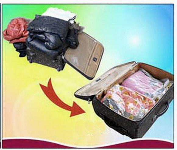 ถุงสูญญากาศ easy roll-up (แบบใช้มือม้วน) เนื้อหนา grade A เหมาะสำหรับแพคเสื้อผ้าเดินทาง size S
