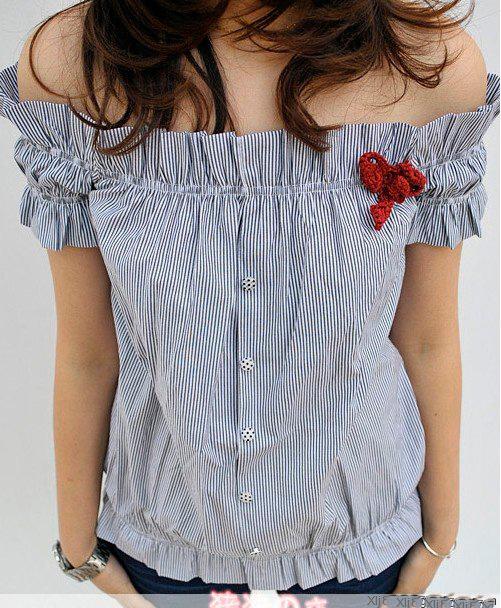 เสื้อผ้าแฟชั่น: เสื้อโชว์ไหล่สม็อคแขนกิ๊บเก๋