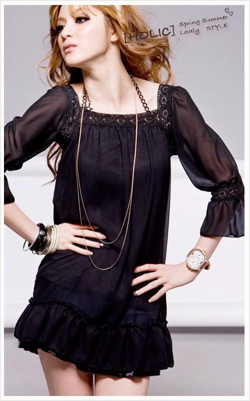 เสื้อผ้าแฟชั่น: dress ดำคอเหลี่ยมเดินลูกไม้