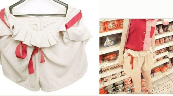เสื้อผ้าแฟชั่น: กางเกงเอวจีบผูกโบว์แดง