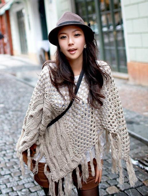 เสื้อกันหนาวพร้อมส่ง : สเวตเตอร์ shawl นิตต์แต่งพู่